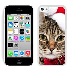 Personalized Hard Shell Iphone 5C TPU Case Christmas Cat iPhone 5C Case 5 White