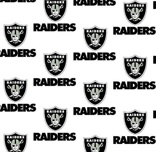 Cotton Oakland Raiders Fabric - Oakland Raiders NFL Football in White 58