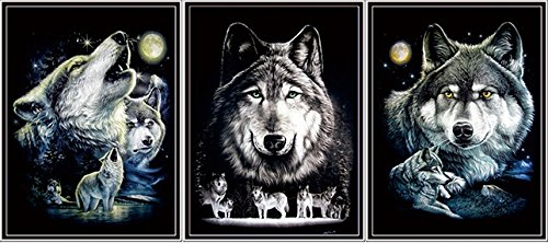 amazoncom wolf pack framed wall art lenticular technology causes the artwork to flip multiple pictures in one hologram type images change mesmerizing