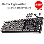 Migree USB Backlit Retro Typewriter Mechanical Keyboard-Khail Blue/Brown Switch-Full Metal Boby–LED Vintage Inspired Steampunk Gaming Keyboard–Mechanical Gaming Keyboard for PC/Mac/Gamer/Typist 9