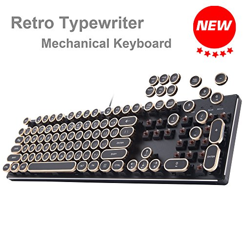 New USB Backlit Retro Typewriter Mechanical Keyboard for PC Mac Gamer Typist etc Wired LED Vintage Inspired Steampunk Gaming Keyboard Khail Blue/Brown Switch Clicky Metal Mechanical Gaming Keyboard
