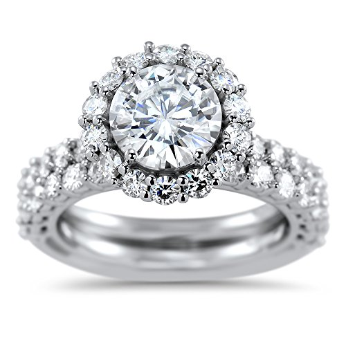 (Art of Fine 14K White Gold 2.92cttw Round Halo Moissanite Open Wire Gallery Wedding Set with Lab Grown Diamonds)