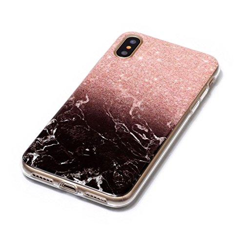 Custodia per AppleiPhoneX(5,8pouces) ,JIENI Protezione TPU Marmo naturale naturale di alta qualità Punti di polvere nera Morbido Bumper Cover Silicone Case per AppleiPhoneX(5,8pouces)
