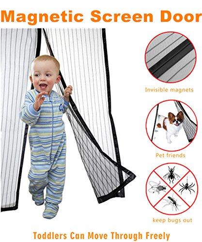 Magnetic Screen Door-Mesh Door Curtain-Full Frame Velcro - Mesh Net Screen Door Magnetic Anti Mosquito Bug...