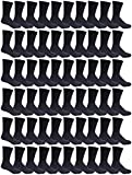 180 Pairs Case of Mens Sports Crew Socks, Wholesale Bulk Pack Athletic Sock, by Excell (Black)