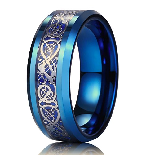 King Will Dragon Men Women 8mm Tungsten Carbide Ring Blue Carbon Fiber Silver Celtic Dragon Inlay Wedding Band (12.5)