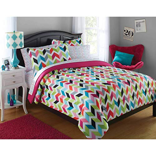 8pc Girls Hot Pink Blue Chevron Comforter Queen Set, Adorable Cheerful Teen Themed Vibrant Zigzag, Microfiber, Lime Green Black Color Zig Zag V Shaped Pattern, Kids Bedding Bedroom