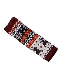 Long Fingerless Gloves Women Elk Jacquard Knit Sleeve for Winter Arm Warm