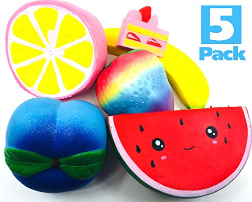 Boopy Squishies - Slow Rising Jumbo Squishies Pack of 5 Silly Fruits and A Bonus Cake - Squishy Set has Kawaii Watermelon, Cute Lemon, Strawberry, Peach, Big Banana - Boys Girls Toys - Stress Relief by Boopy Squishies