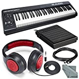 M-Audio Keystation 61 II MIDI Keyboard Controller and Deluxe Bundle w/ Keyboard Sustain Pedal, Headphones, MIDI Cable, Fibertique Cloth