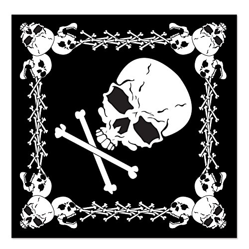 Beistle 60874 Skull and Crossbones Bandana, 22 by 22-Inch, -