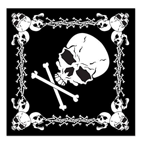 Beistle 60874 Skull and Crossbones Bandana, 22 by 22-Inch, Black/White