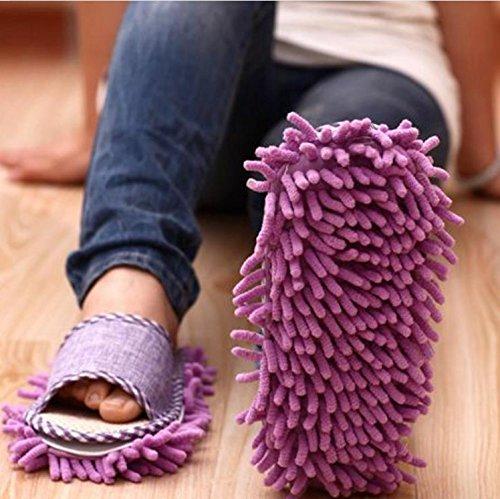 Itian 1 par Generic casa piso pulido limpieza polvo pie calcetines calzado Mop Zapatillas Las Slipper microfibra fregona morado