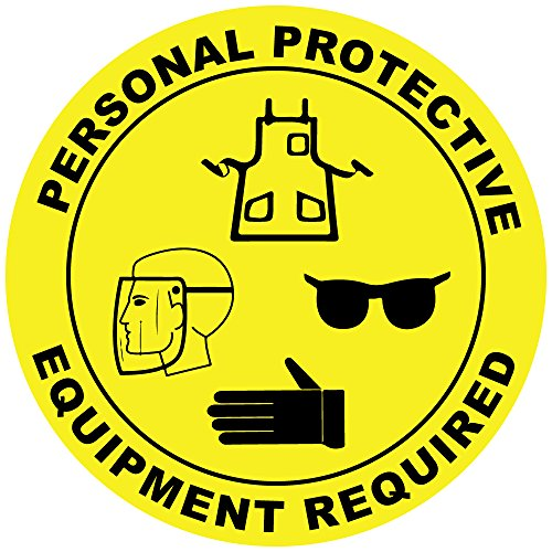 (Personal Protective Equipment Area Yellow Black Anti-Slip Floor Sticker Decal 17 in longest side)