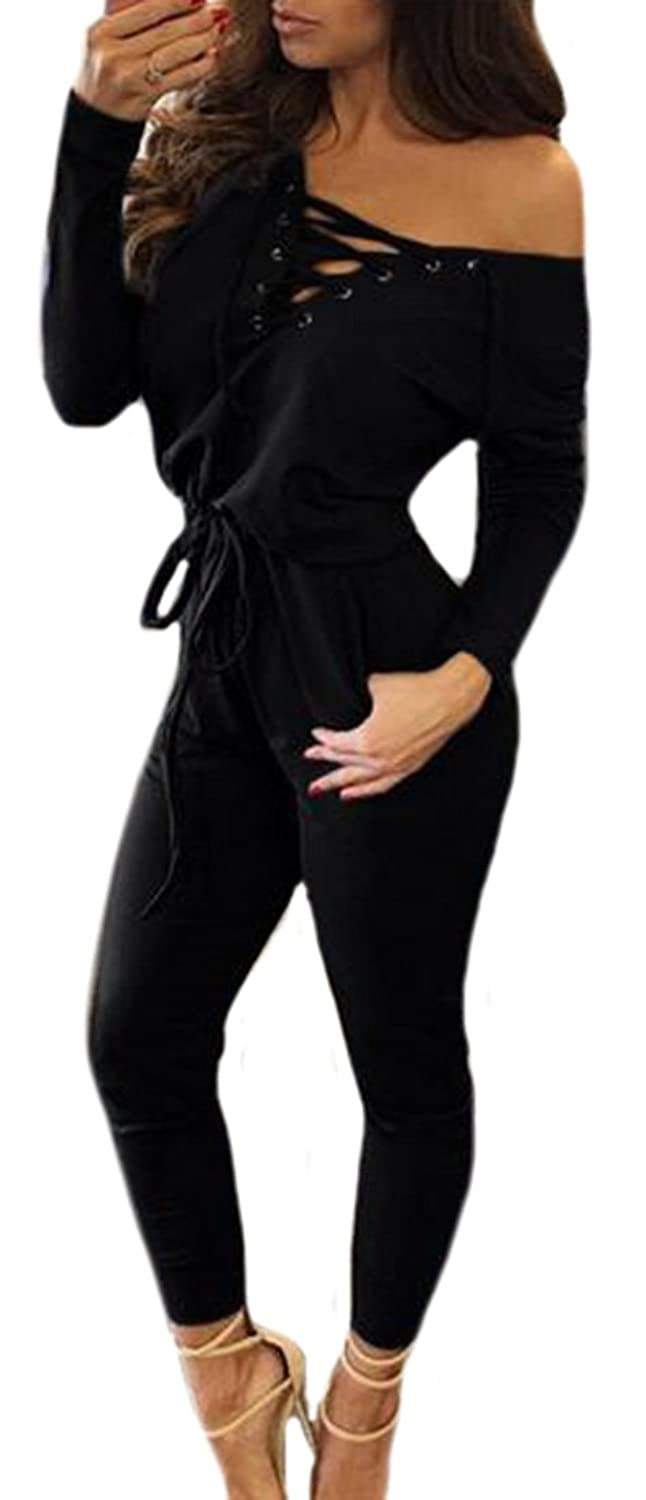 Binn Womens Lace Up V-neck Tie-front Long sleeve Slim Jumpsuits