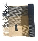 Annys 100% Cashmere Plaid Scarf 12x72 with Gift Bag - Men Cashmere - Cashmere Women (22 Colors) (Chevron - Brown/Tan/Black)