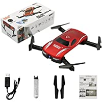 Global Drone GW186 Mini Foldable Pocket Drone 3D Flips & Rolls FPV WIFI Real-Time View 0.3MP Camera Altitude Hold (Red)