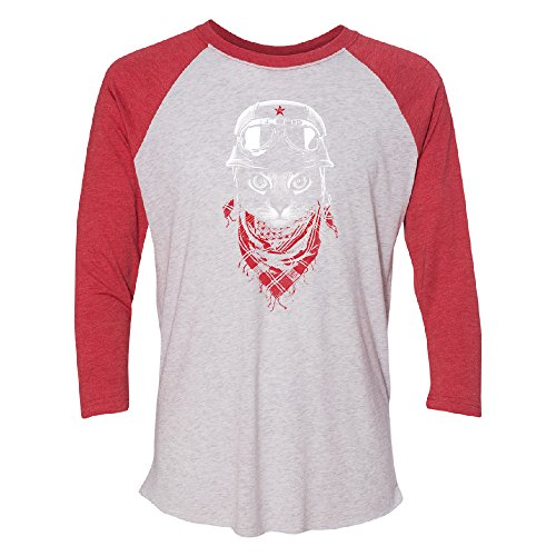 Bandana Cat 3/4 Raglan Tee Fancy Fashion 2017 Brand New Top Quality Jersey Red/White X-Large