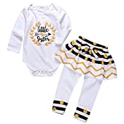 Newborn Little Sister Baby Little Girls Skirts Leggings Pants Gifts Outfits Set (White, 0-6 Months)