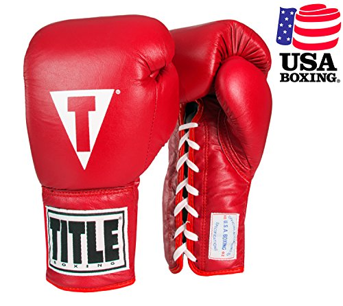 TITLE USA Boxing Competition Gloves (Lace), Red, 10 oz (Ring Boxing Competition)