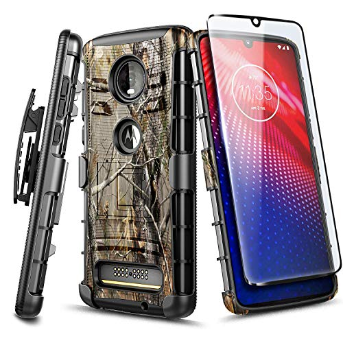 Moto Z4 Case, Motorola Moto Z4 Play Case with Tempered Glass Screen Protector (Full Coverage), NageBee Belt Clip Holster Heavy Duty Armor Shockproof Kickstand Dual Layer Combo Rugged Case -Camo (Camo Motorola Phone Case)