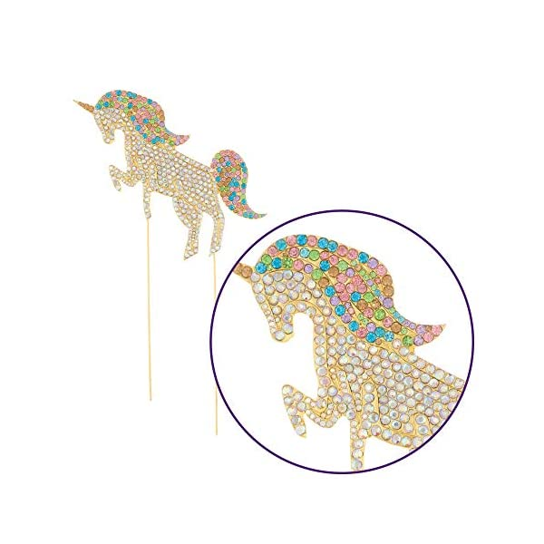 Ella Celebration Unicorn Birthday Cake Topper Unique Reusable Rainbow Rhinestone Cake Decorations for Party, Baby Shower, Event Supplies and Favors (Gold) 5