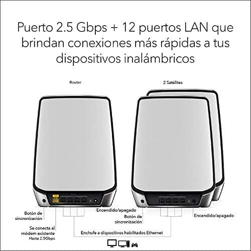 Netgear Orbi RBK853 - Sistema Mesh Wi-Fi TriBanda 6 AX6000, cobertura de hasta 525 m² y 60 dispositivos, kit de 3, con 1 Router y 2 Satélites: Amazon.es: Informática