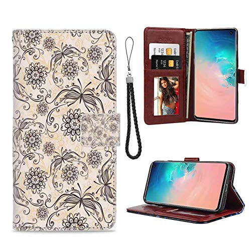 Wallet Case Fit Galaxy S10e (2019) 5.8in Vintage Nature Composition with Ornamental Lines Swirls Circles Abstract Flora and Fauna Beige Black with Magnetic
