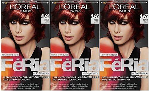 3 x Loreal París Feria – 4.66 Pure rojo intenso rojo – tinte para cabello colorante)
