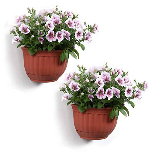 T4U Resin Wall Planter Brick Red Small Set of 2, Wall Mounted Garden Plant Flower Pot Basket Container Indoor Outdoor Use for Orchid Herb Aloe Succulent Cactus Home Office Porch Wall Decoration Gift