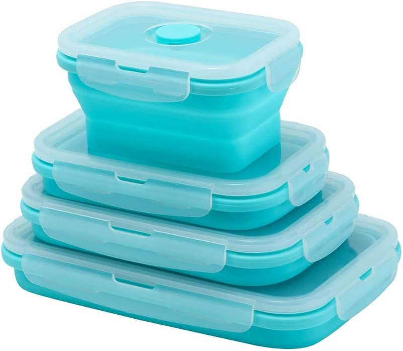 Yagote 4 Pcs Silicone Collapsible Food Storage Containers with Lids Silicone Lunch Box Bento Box BPA free for Kitchen Pantry Organization Microwave Freezer (4pcs-Blue)