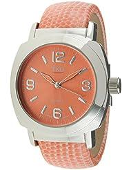 TKO Silver Leather Cuff Bracelet Coral Lizard Print Watch