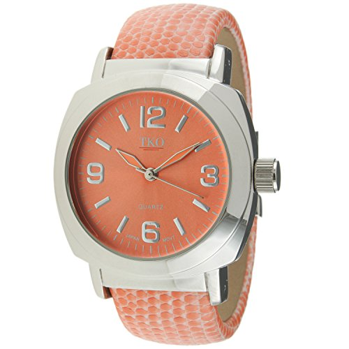 Coral Watch Bracelet - TKO Silver Leather Cuff Bracelet Coral Lizard Print Watch