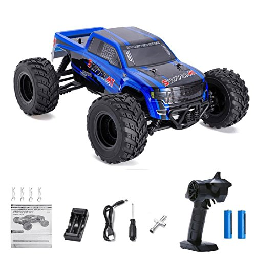 Distianert 1/12 4WD Electric RC Car Monster Truck RTR with 2.4GHz Radio Remote Control/Crazy Speed 30MPH/2 Sets of Rechargeable Batteries Best RC Buggy for On-road and Off-road Racing Rock Crawling