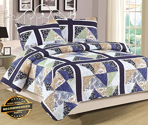 Werrox King or Queen Quilt Patchwork Blue Green Tan Multi Color Bedspread, 3 Piece Set | King Size | Quilt Style QLTR-291266670