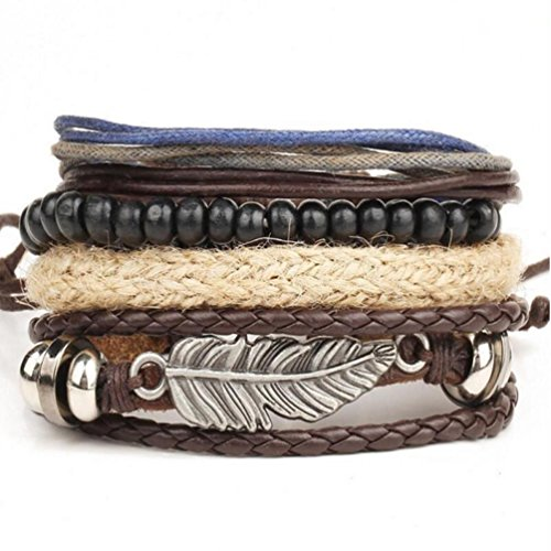 Creazy New Men's Braided Leather Stainless Steel Cuff Bangle Bracelet Wristband