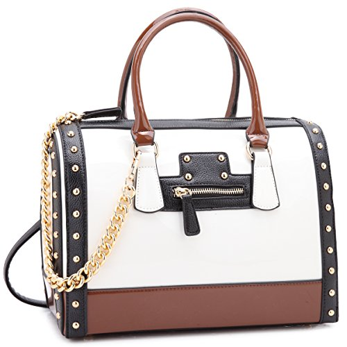 Dasein Shiny Patent Faux Leather Mini Barrel Body Satchel Handbag Shoulder Bag Large White ()
