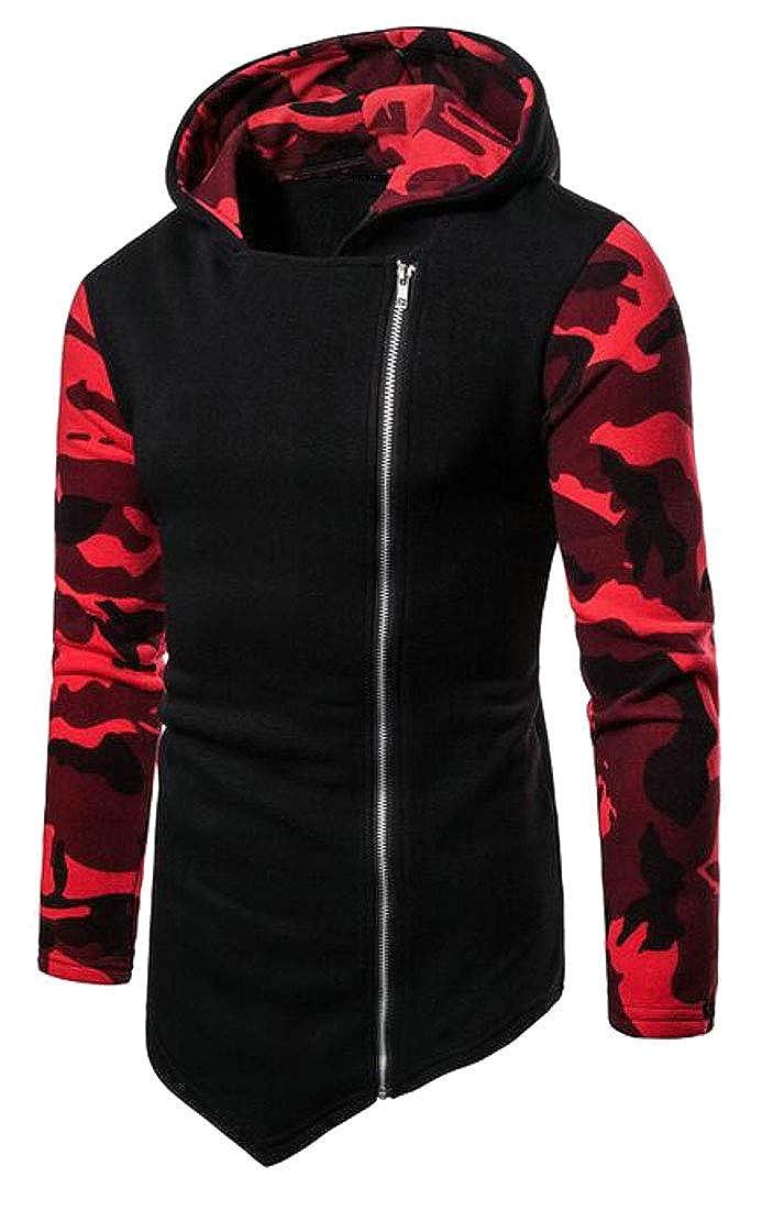 OTW Mens High Low Color Block Casual Sport Camo Hoodie Sweatshirts Jacket Coat