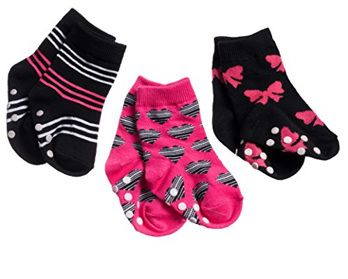 Silky Toes Non-Skid Newborn Baby Socks Gift Set (18-24M, Pink Bow (3 Pack))