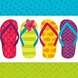Sun-Sational Summer Luau Party Colorful Flip Flops Luncheon Napkins Tableware, Paper, 6.5'' x 6.5'', Pack of 125