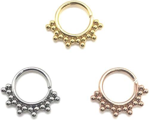 Silver Seamless Gem Bendy Nose Septum  Hoop Daith Ring Cartilage 3 Colours