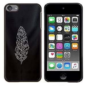 TECHCASE---Cubierta de la caja de protección para la piel dura ** Apple iPod Touch 6 6th Touch6 ** --arte plumario polígono negro acolchado blanco