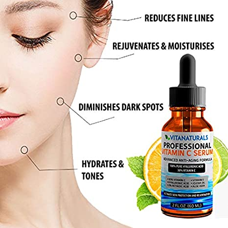 Sérum de ácido hialurónico puro con 30% de vitamina C, ácido retinoico, vitamina E, aceite de jojoba, 60ml: Amazon.es: Belleza