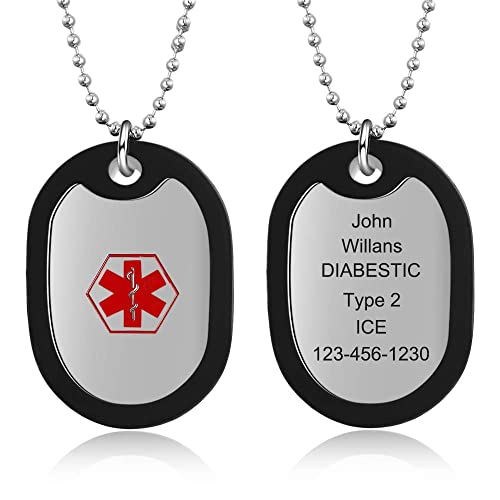 miglior servizio bd4f4 7bd23 DaMei Collana Militare Personalizzata Incisione in Inox ...