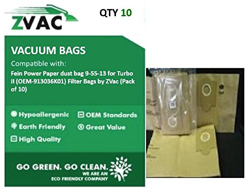 ZVac Fein Power Paper dust bag 9-55-13 for Turbo II (Fits similar to OEM-913036K01) Filter Bags (Pack of 10) ()