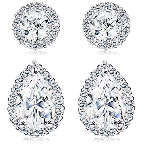 - LOYALLOOK 2Pairs Bridal Stud Earrings for Women Cubic Zirconia Bridesmaid Stud Earrings Teardrop Earrings for Wedding, Prom Silver Tone