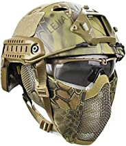 PJ Tactical Quick Helmet and Foldable Ear Protection Half-Face Mesh Mask and Goggles, Jungle Hidden Camouflage