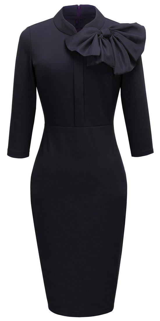 Homeyee Women's Vintage Bowknot 3/4 Sleeve Party Dress B244 (XL, Black)  US 10