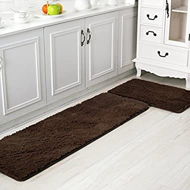 Ustide 2-Piece Cozy Floor Runner For Kitchen Area Rugs Anti-slip Modern Carpet Shaggy Door Mat High Pile Bathroom Rug Coffee