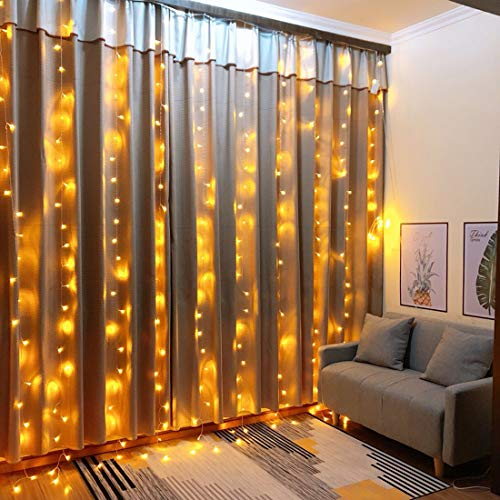 Ever Smart 306 Curtain Lights, Warm White Wedding Window Fairy String Light for Bedroom Party Garden Festival Holiday Decorations -